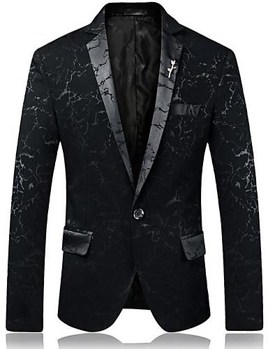 voordelige Herenblazers & kostuums-Heren Uitgaan Standaard Normaal Blazer, Geometrisch Overhemdkraag Lange mouw Polyester blauw / Zwart / Rood