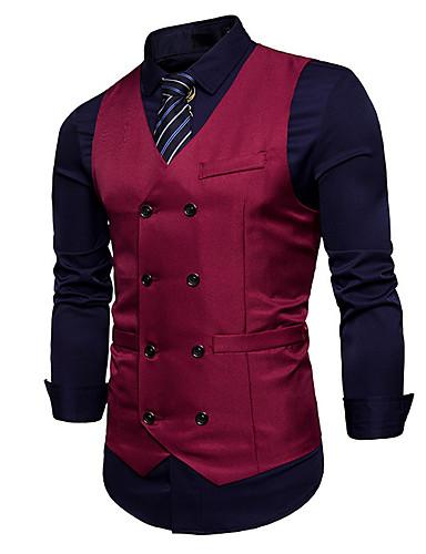 Men's Work Regular Vest, Solid Colored V Neck Sleeveless Polyester Wine / Khaki / Royal Blue L / XL / XXL / Business Casual
