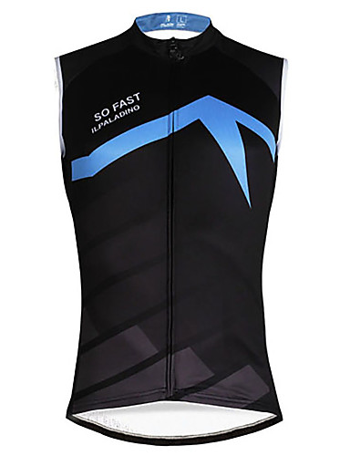cheap Cycling Clothing-ILPALADINO Men's Sleeveless Cycling Jersey - Black / Blue Solid Color Bike Vest / Gilet Jersey Tank Top Quick Dry Sports Eco-friendly Polyester 100% Polyester Mountain Bike MTB Road Bike Cycling