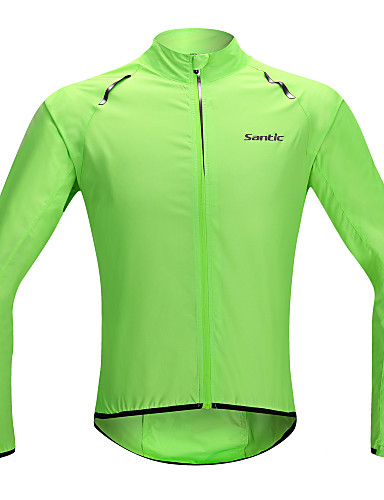 cheap Cycling Clothing-SANTIC Men's Women's Cycling Jacket Bike Jacket Ultraviolet Resistant Jacket Raincoat Waterproof Windproof Quick Dry Sports Solid Color Lycra Green Mountain Bike MTB Road Bike Cycling Clothing Apparel