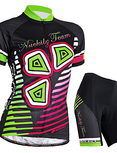 cheap Cycling Clothing-Nuckily Women's Short Sleeve Cycling Jersey with Shorts - Black Bike Shorts Jersey Clothing Suit Waterproof Breathable Ultraviolet Resistant Waterproof Zipper Reflective Strips Sports Polyester