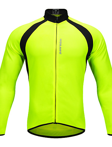 WOSAWE Unisex Long Sleeve Cycling Jersey - Green Patchwork Bike Jersey Top  Sports Polyester Mountain Bike MTB Road Bike Cycling Clothing Apparel    Stretchy ... 50e63f331