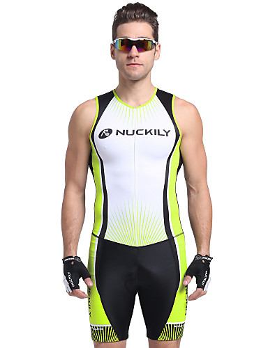 cheap Cycling Clothing-Nuckily Men's Short Sleeve Triathlon Tri Suit - Green Stripes Bike Breathable Anatomic Design Ultraviolet Resistant Sports Polyester Spandex Stripes Triathlon Clothing Apparel / Stretchy / Advanced