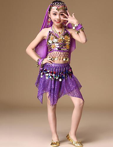 voordelige Shall We®-Buikdans Outfits Meisjes Prestatie Spandex Koperen munten / Bandage / Gelaagd Mouwloos Laag Haar Sieraden / Rokken / Top
