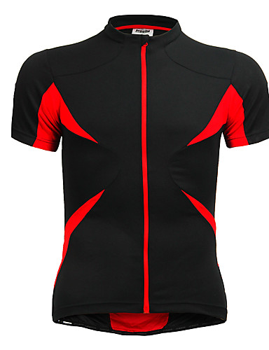 cheap Cycling Clothing-Jaggad Men's Unisex Short Sleeve Cycling Jersey - Red+Black Bike Jersey Top Breathable Quick Dry Sports Polyester Elastane Mountain Bike MTB Road Bike Cycling Clothing Apparel