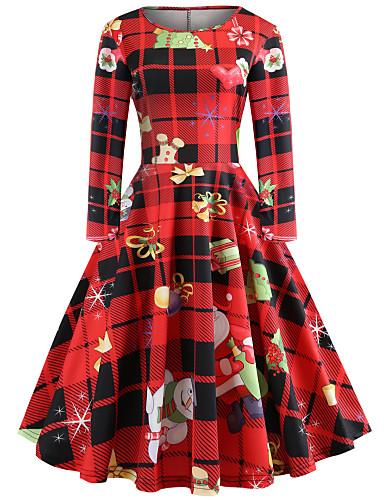 tanie W stylu vintage-Damskie Wyjściowe Vintage Elegancja Bawełna Szczupła Swing Sukienka - Geometric Shape, Nadruk Do kolan