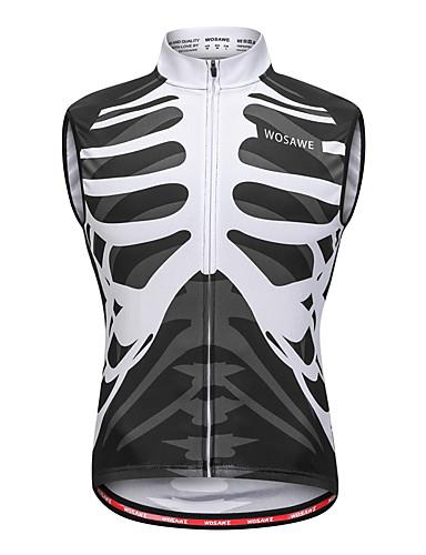 cheap Cycling Clothing-WOSAWE Men's Sleeveless Cycling Vest - Black / White Bone Bike Vest / Gilet Jersey Sweat-wicking Sports Mesh Reactive Print Mountain Bike MTB Road Bike Cycling Clothing Apparel / Stretchy