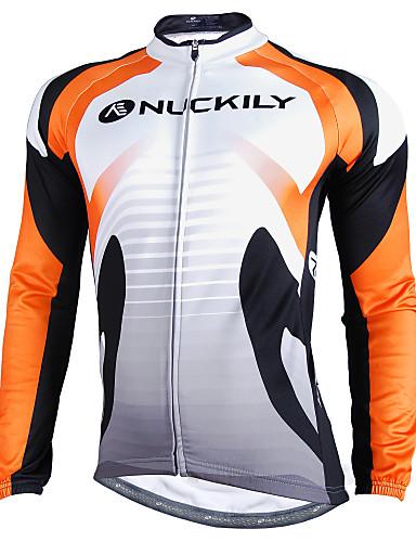 cheap Cycling Clothing-Nuckily Men's Long Sleeve Cycling Jersey - Orange Bike Jersey Top Waterproof Windproof Reflective Strips Sports Winter Polyester Velvet Fleece Mountain Bike MTB Road Bike Cycling Clothing Apparel
