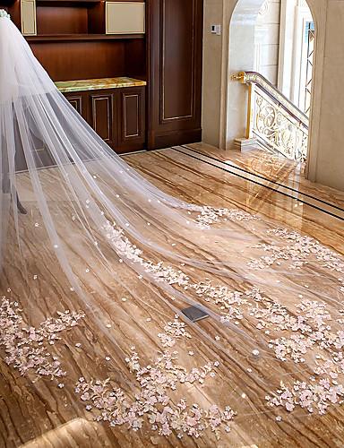billige Bryllupsslør-To-lags Blomster / Blonde Bryllupsslør Katedral Slør med Applikeret broderi Blondelukning / Tyl