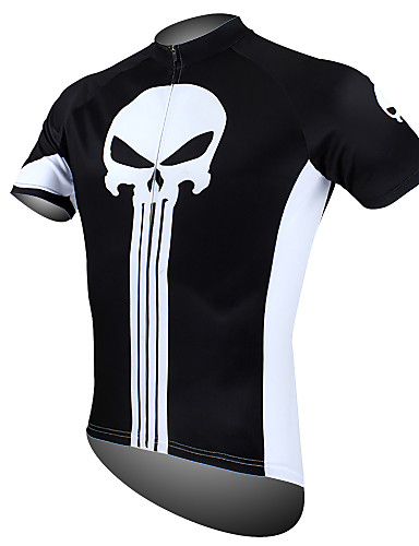 cheap Cycling Clothing-ILPALADINO Men's Short Sleeve Cycling Jersey - Black / White Skull Bike Jersey Top Breathable Quick Dry Ultraviolet Resistant Sports 100% Polyester Mountain Bike MTB Road Bike Cycling Clothing Apparel