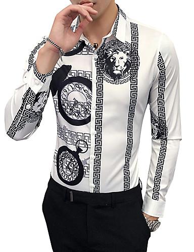 voordelige Uitverkoop-Heren Vintage Overhemd Werk dier / Tribal Klassieke boord Slank Wit / Lange mouw / Herfst / Winter