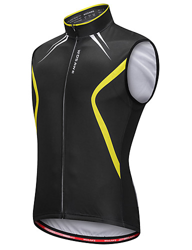 cheap Cycling Clothing-WOSAWE Men's Sleeveless Cycling Vest - Black / Yellow Bike Vest / Gilet Jersey Reflective Strips Back Pocket Sweat-wicking Sports Reactive Print Mountain Bike MTB Road Bike Cycling Clothing Apparel