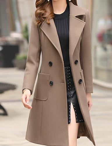 Damen Alltag Grundlegend Herbst Winter Lang Trench Coat, Solide Umlegekragen Langarm Polyester Leicht Braun / Armeegrün / Khaki L / XL / XXL