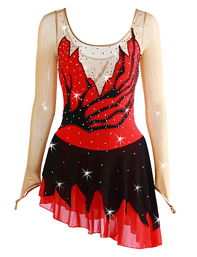 robe de patinage artistique femme fille patinage robes rouge mosa que ourlet asym trique. Black Bedroom Furniture Sets. Home Design Ideas