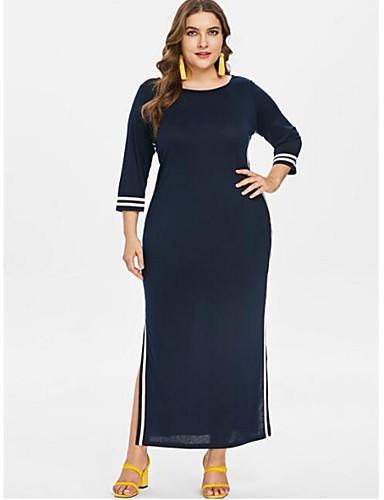 232a11f8450 Women s Plus Size Daily Basic Puff Sleeve Maxi Shift Dress - Solid Colored  Black   White Navy Blue XXXXL XXXXXL XXXXXXL