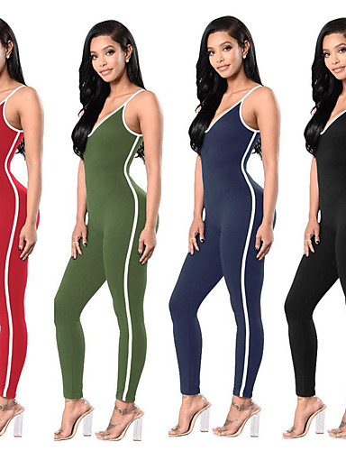e95d4742304 Women s Suspenders Workout Jumpsuit Apricot Royal Blue Burgundy Sports  Solid Color Leggings Zumba Dance Running Activewear Breathable Moisture  Wicking ...