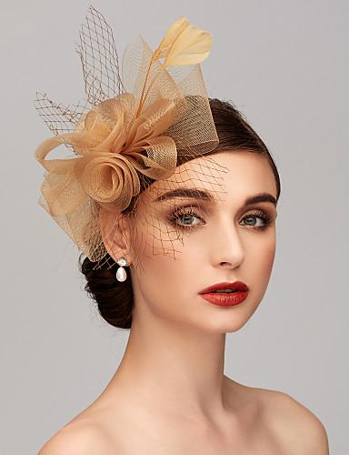 ราคาถูก งานแต่งงาน-ขนนก / สุทธิ Kentucky Derby Hat / fascinators / เครื่องประดับศรีษะ กับ ขนนก / ดอกไม้ 1pc งานแต่งงาน / โอกาสพิเศษ หูฟัง