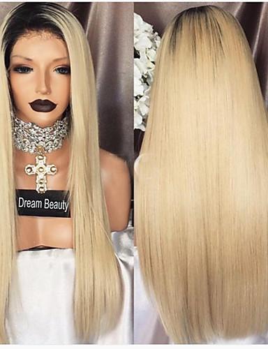 billige Blondeparykker med menneskehår-Ekte hår Blonde Forside Parykk Side del Wendy stil Brasiliansk hår Rett Flerfarvet Parykk 130% Hair Tetthet med baby hår Ombre-hår 100% Jomfru ubehandlet Blekte knuter Dame Lang Blondeparykker med
