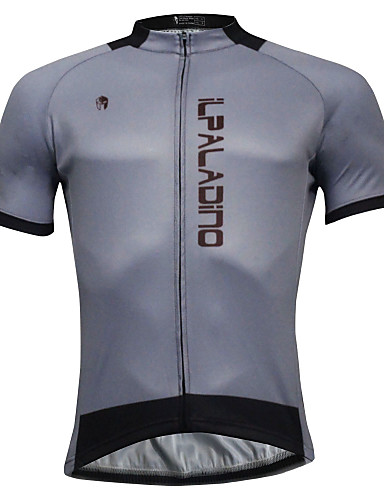 cheap Cycling Clothing-ILPALADINO Men's Short Sleeve Cycling Jersey Gray Solid Color Bike Jersey Top Quick Dry Sports Polyester Coolmax® Eco-friendly Polyester Mountain Bike MTB Road Bike Cycling Clothing Apparel