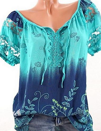 povoljno Majica-Veći konfekcijski brojevi Majica Žene Dnevno Kravata Lađa izrez Lila-roza / Ljeto