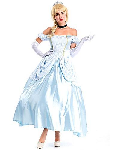 halpa Cosplay ja rooliasut-Lumivalkoinen Cinderella Mekot Cosplay-Asut Juhla-asu Naamiaisasu Asu Aikuiset Naisten Prinsessa Lolita Halloween Joulu Halloween Karnevaali Festivaali / loma Spandex Polyesteri Vaalean sininen