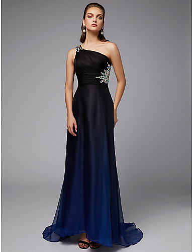 d9e5594df Sheath   Column One Shoulder Sweep   Brush Train Chiffon Formal ...