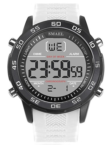 dfa7d1e0bb SMAEL Men's Sport Watch Digital Watch Japanese Digital Silicone Black /  White 50 m Water Resistant / Waterproof Calendar / date / day Noctilucent  ...