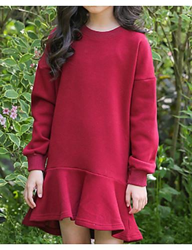 billige Udsalg på kollektioner med børnetøj-Børn Pige Basale Ensfarvet Langærmet Bomuld Kjole Brun