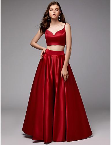 billige Todelte kjoler-Ballkjole Spagettistropper Gulvlang Sateng To deler Skoleball / Formell kveld Kjole med Plissert av TS Couture®