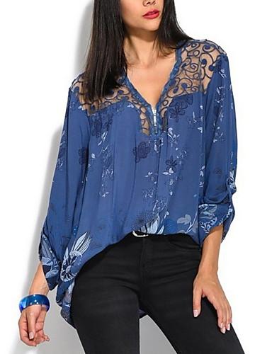 povoljno Majica-Majica Žene Vikend Cvjetni print V izrez Širok kroj Plava