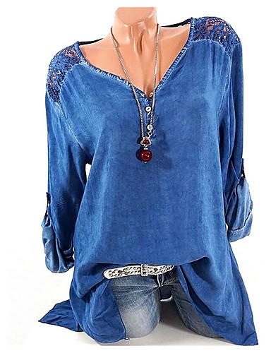 V-hals Skjorte Dame - Grafisk Blå