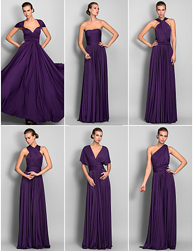 182dc620e20 A-Line Floor Length Jersey Bridesmaid Dress with Criss Cross ...