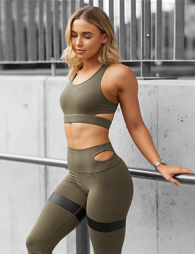 cheap Activewear-Women's Cut Out Yoga Suit Black Army Green Blue Sports Spandex Pants / Trousers Bra Top Clothing Suit Zumba Dance Running Activewear Anatomic Design Compression Sweat-wicking High Elasticity Slim