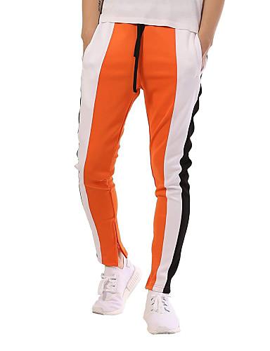 billige Herrebukser og -shorts-Herre Grunnleggende / Gatemote Daglig Sport Tynn Joggebukser Bukser - Fargeblokk Lapper Bomull Svart Oransje Gul XL XXL XXXL