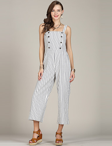 3350 Womens Plus Size Daily Going Out Basic Strapless White Wide Leg Slim Jumpsuit Striped Black White Xl Xxl Xxxl High Waist Cotton