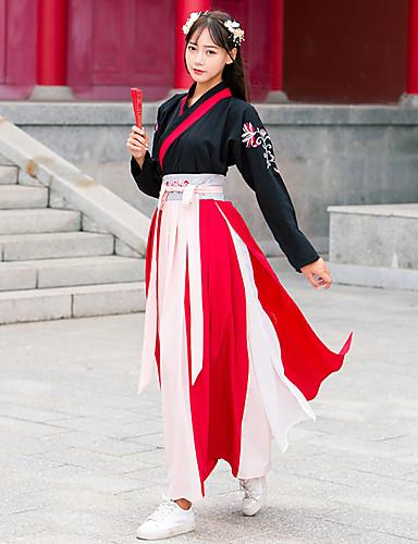 hesapli Dans kostümleri-Dans kostümleri Hanfu Kadın's Eğitim / Performans Pamuklu Nakış Uzun Kollu Etekler / Top / Kemer