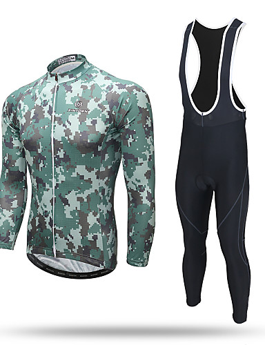 cheap Cycling Clothing-XINTOWN Men's Long Sleeve Cycling Jersey with Bib Tights - Camouflage Camo / Camouflage Bike Pants / Trousers Jersey Bib Tights Breathable 3D Pad Reflective Strips Back Pocket Sweat-wicking Winter