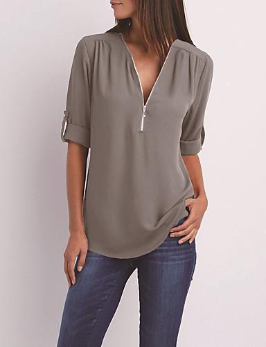 abordables Hauts pour Femme-Tee-shirt Femme, Couleur Pleine Col en V Bleu clair
