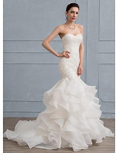 8d2c913e80b Τρομπέτα / Γοργόνα Καρδιά Ουρά μέτριου μήκους Δαντέλα Φορέματα γάμου ...