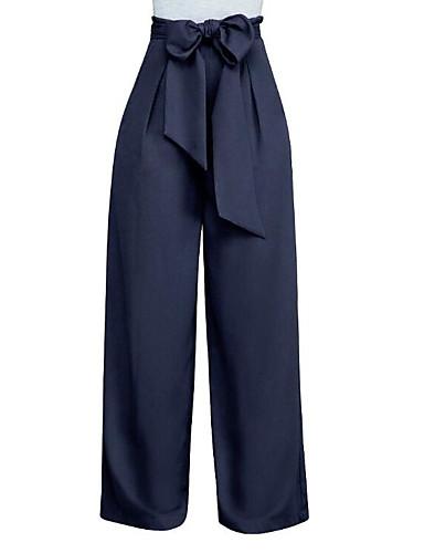 abordables Pantalons Femme-Femme Grandes Tailles Sortie Ample Pantalon - Couleur Pleine Vin Vert Véronèse Bleu royal M L XL