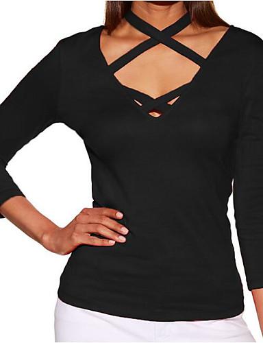 abordables Hauts pour Femme-Tee-shirt Femme, Couleur Pleine Sortie Actif Bleu