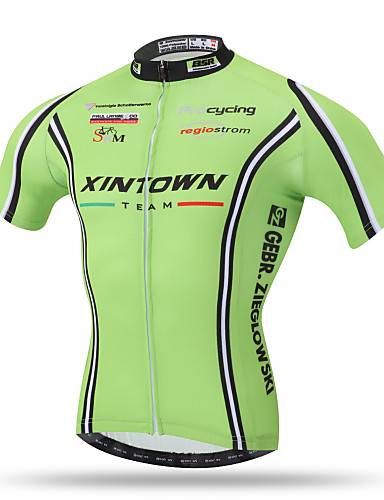 cheap Cycling Clothing-XINTOWN Men's Short Sleeve Cycling Jersey - Green Bike Top Breathable Quick Dry Back Pocket Sports Terylene Mountain Bike MTB Road Bike Cycling Clothing Apparel / Stretchy / Sweat-wicking
