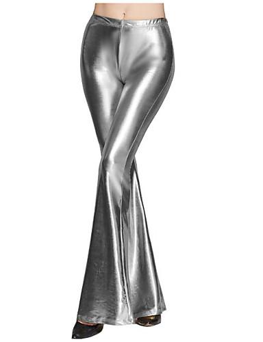 abordables Pantalons Femme-Femme Sortie Mince Ample / Chino Pantalon - Couleur Pleine Noir Bleu clair Violet S M L