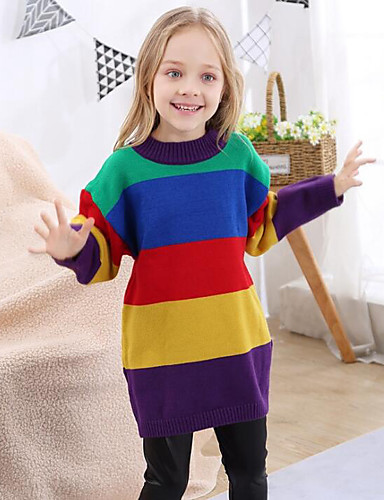 1f77e8abf Kids Girls' Active / Street chic Daily / Going out Rainbow Patchwork Long  Sleeve Long