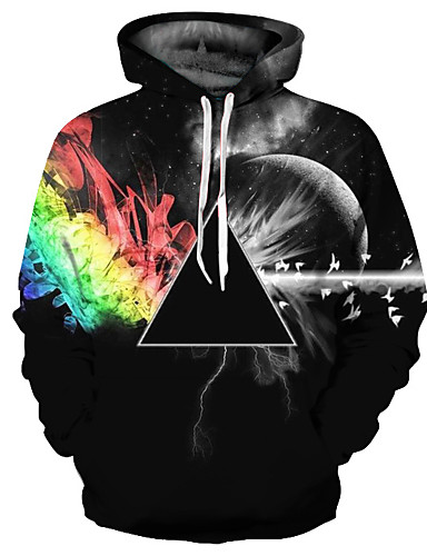 cheap PF Style-Men's Basic / Exaggerated Long Sleeve Hoodie - 3D Print Hooded Black XL / Spring / Fall