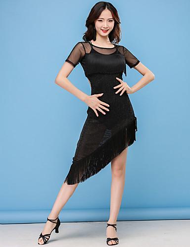 5856442f4d8b Latin Dance Dresses Women's Performance Nylon Tassel / Split Joint Short Sleeve  High Dress