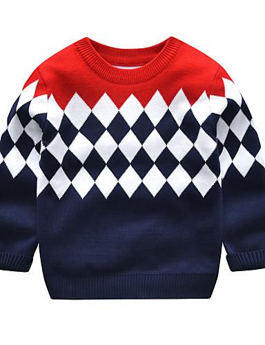 Djeca Dijete koje je tek prohodalo Dječaci Aktivan Osnovni Dnevno Škola Color block Dugih rukava Regularna Džemper i kardigan Navy Plava