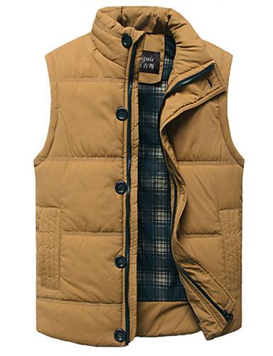 voordelige Heren donsjassen & parka's-Heren Dagelijks Effen Normaal Vest, Katoen / Polyester Mouwloos Opstaand Zwart / Geel XL / XXL / XXXL
