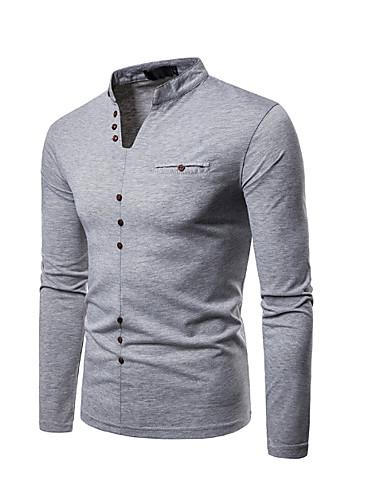 voordelige Heren T-shirts & tanktops-Heren T-shirt Effen V-hals Zwart / Lange mouw