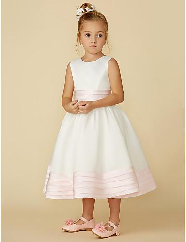 cheap Flower Girl Dresses-A-Line Tea Length Flower Girl Dress - Satin Sleeveless Jewel Neck with Bow(s) / Sash / Ribbon by LAN TING BRIDE®